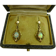 SOLD Stunning Vintage 9ct Gold and Solid White Opal Earrings ~ 1950s