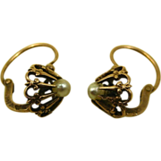 SOLD Antique French Napoleon III Dormeuses Earrings 18 k Rose Gold & Pearl ~ c1860