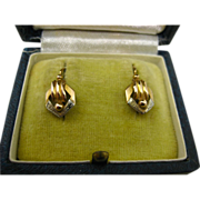 SOLD French Art Déco 18K Carat Gold Dormeuses Earrings ~ c1920s