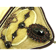 SOLD Antique Victorian Superb Garnet Silver Vermeil Necklace ~ c1890