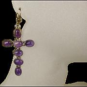 Vintage Amethyst Gemstone & Sterling Cross Crucifix Earrings ~ Large and Stunning