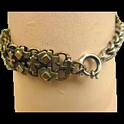 French Silver Copper Brass Watch Chain Bracelet ~ c1880