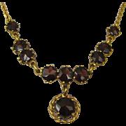 SOLD Art Deco Stunning Garnet 333 Gold Necklace ~ c1930