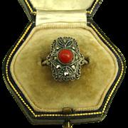 Art Deco Coral Marcasite 835 Silver Ring  ~ 1925 - 1930