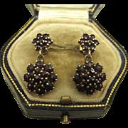 Stunning Art Nouveau Garnet Silver Vermeil Earrings ~ c1920s