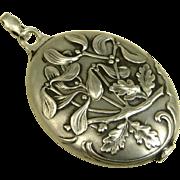 French Art Nouveau Antique Silver Mistletoe Pendant ~ c1900