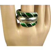 Vintage David Andersen Norway Enamel & Sterling Ring ~ 1960s