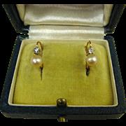 SOLD Art Deco French 18k Gold Pearl Diamond Dormeuses Earrings ~ c1920