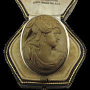 Antique Victorian Hugh Relief Lava Oval Cameo Silver Brooch ~ c1870