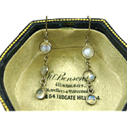 SALE PENDING Superb Antique Edwardian Silver and Moonstone Delicate Pendant Earrings ~ c1900