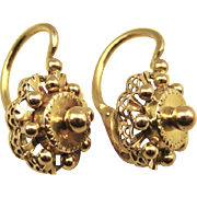 SOLD Antique French Victorian Elegant Ornate 18k Gold Dormeuses Earrings ~ c1880