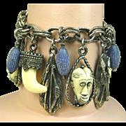 Rare Signed Vintage Selro Selini © Charm Bracelet Ivory color Lapis African Masks