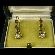 SOLD Splendid Suffragette Early Art Deco 18 Carat Gold French Dormeuse Ruby Emerald Sapphire E