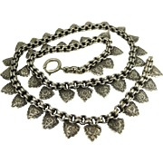 Antique Victorian Silver Ornate Engraved Book Chain Necklace ~ c1890