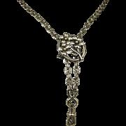 French Antique Art Nouveau Slider Silver Sautoir Long Guard Chain ~ c1890s