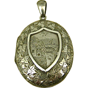 Superb Antique Victorian Mourning Chased Silver Locket ~ Rare Tintype Child and 'Hidden Mother