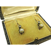 SOLD Art Deco French 18k Gold Pearl and Paste Dormeuses Earrings ~ c1920