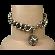 SOLD Art Nouveau French Silver Chain Bracelet with Breloque Charm ~ c1910