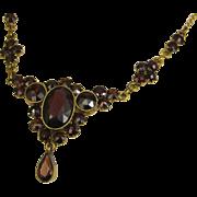 SOLD Vintage Art Deco Era Bohemian Garnet Necklace Double Gold ~ Stunning