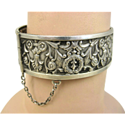 SALE PENDING French Antique Napoleon 111 Era Ornate Silver Repoussé Bracelet ~ c1860
