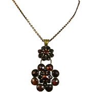 Art Nouveau Ornate Garnet Silver Necklace ~ c1910