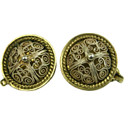 Rare David Andersen Norway Antique Silver and Gold Christiania Earrings ~ 1880's