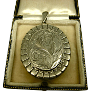 Vintage Engraved English Sterling Silver Locket ~ 1979