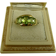 Fine Vintage Peridot Five Stone Yellow Gold Ring
