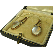 SOLD Superb Antique Victorian Moonstone Pinchbeck Pendant Earrings ~ c1870