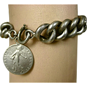 SALE PENDING Art Nouveau French Silver Chain Bracelet with Oscar Roty Coin Charm ~ c1916