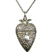 Rare Antique Sterling Silver French Repoussé Cherub Heart Locket ~ c1860 - 1880