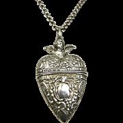 Rare Antique Sterling Silver French Repoussé Cherub Heart Locket ~ c1860 - 1880