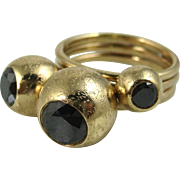 Stunning Black Diamond 14k Solid Gold Modernist Three Stone Designer Ring ~ Superb