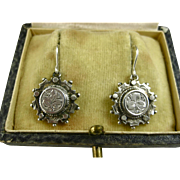 Antique Victorian Aesthetic Sterling Chased Earrings ~ c1890