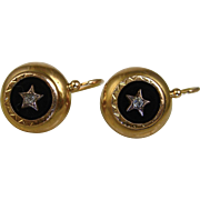 SALE PENDING Antique French Napoléon III Dormeuses Mourning Earrings 18k Gold, Jet, Diamond ~