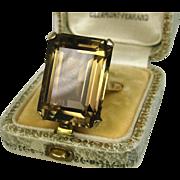 Stunning Huge Estate 18 Carat Smoky Quartz Solitaire Gold Ring ~ Superb