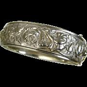 Antique Art Nouveau Ornate Silver Repoussé Bracelet ~ c1910