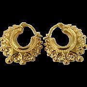 Fine Vintage Repoussé 9CT Gold Victorian Revival Design Creole Earrings ~ c1960s