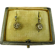 SALE PENDING Antique French Ornate 18k Gold Dormeuses Earrings ~ c1900