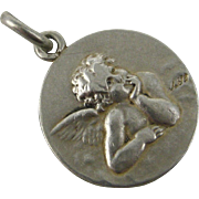 French Art Nouveau Silver Mourning Medallion Angel Cherub ~ c1900