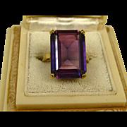 Stunning Huge Art Deco Design Alexandrite Rose Gold Ring ~ c1940s