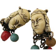 REDUCED Selro Unsigned Rare Asian Princess Face Earrings