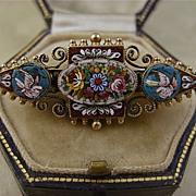 Superb Victorian Etruscan Revival Doves, Birds Micro Mosaic Pin ~ c1870