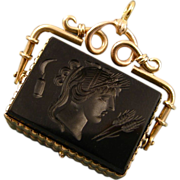 REDUCED Antique 14ct Gold Sardonyx Onyx Intaglio Locket Fob ~ Demeter ~ c1820-1840