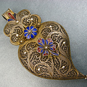 SOLD Antique French Filigree Witches Heart Pendant ~ Gilded With Enamel Flowers ~ c. 1850