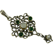 SOLD Art Nouveau ~ Jugendstil Silver Pendant ~ Green & Pearl Stones ~ c1890