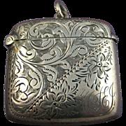 SOLD Antique Edwardian Silver Finely Chased Vesta ~ Locket ~ Birmingham c1901