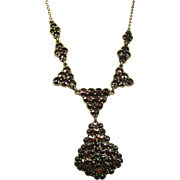 Antique Garnet Necklace Vermeil Silver ~ Art Nouveau c 1910