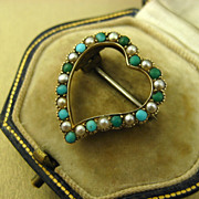 REDUCED Antique Victorian Witches Heart Gold Brooch ~ Seed Pearl & Turquoise ~ c1880s