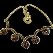 REDUCED Antique Art Nouveau Garnet Necklace Silver Vermeil ~ c1910